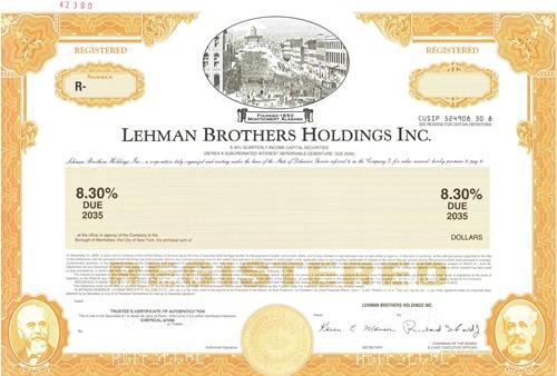 Lehman Brothers Holdings Inc Specimen Certificate – Specimen Share Certificate