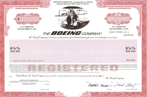 The Boeing Co Specimen Stock Certificate