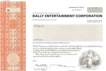 Bally Entertainment Corporation Specimen Stock Certificate