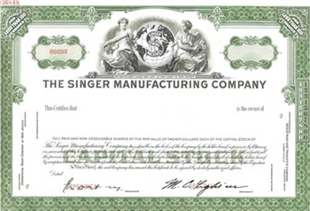 The Singer Manufacturing Company Specimen Stock Certificate