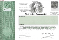 First Union Corp Specimen Stock Certificate