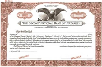 The Second National Bank of Nazareth Specimen Stock Certificate