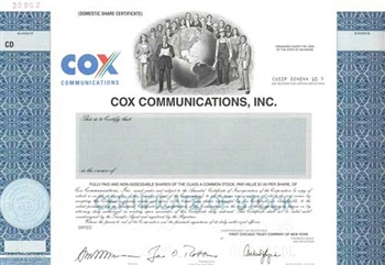 Cox Communcations, Inc. Specimen Stock Certificate