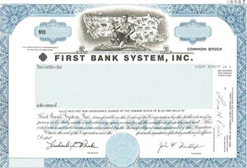 First Bank System, Inc. Specimen Stock Certificate