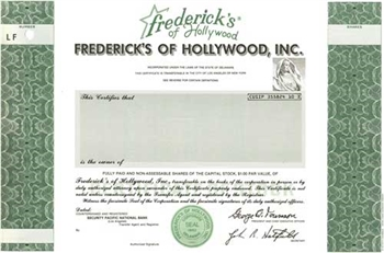 Frederick's of Hollywood, Inc.  Specimen Stock Certificate