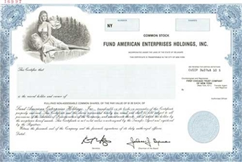 Fund American Enterprises Holdings Specimen Stock Certificate