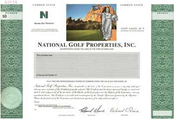 National Golf Properties, Inc. Specimen Stock Certificate