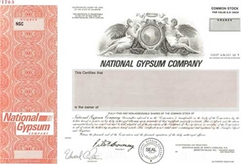 National Gypsum Company Specimen Stock Certificate