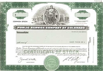 Public Service Co of Colorado Specimen Stock Certificate
