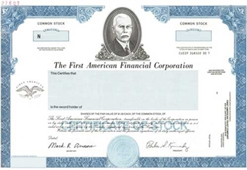 The First American Financial Corp Specimen Stock Certificate