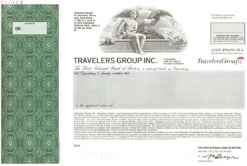 Travelers Group Inc. Specimen Stock Certificate
