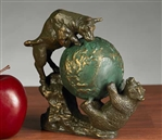 Bull and Bear Fighting w/ Globe Statue