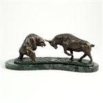Charging Bull & Bear Fight Statue, Bronzed Sculpture on Marble Base