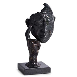 """Thinking Man"" Sculpture with Bronzed Finish on Marble Base"