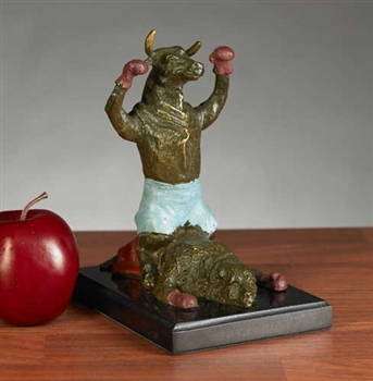 Knock-Out Boxing Bull and Bear Statue