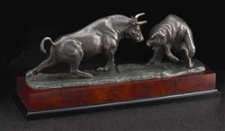 Charging Bull & Bear Sculpture on Burlwood, Bronzed Metal