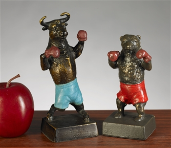 Boxing Bull & Bear Statue Set