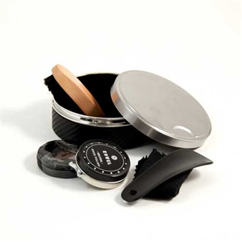 Stainless Steel & Black Leather Shoe Shine Kit