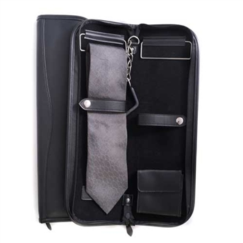 Black Leather Travel Tie Case