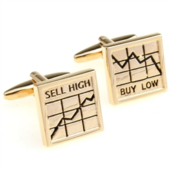 Buy Low Sell High Cufflinks - Gold