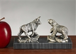 Pewter Bull & Bear Statue - Free Next Day Engraving