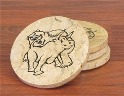Fighting Bull & Bear Solid Stone Coaster Set
