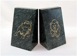 Bull & Bear Solid Green Marble Bookends