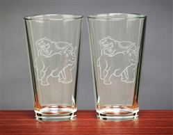 Fighting Bull & Bear Beer Glasses 16 Oz - Unique Beer Glasses