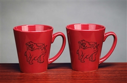 Fighting Bull & Bear Latte Coffee Mug - Burgundy