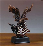 Bald Eagle Statue with American Flag - Free Next Day Engraving