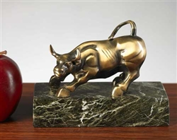 Antique Brass Bull on Green Marble - Free Next Day Engraving