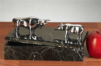 Chrome Bull and Bear Marble Box - Free Next Day Engraving