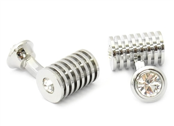 Silver Clear Swarovski Barrel Cufflinks