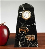 Stock Market Bull and Bear Desk Clock - Solid Black Marble