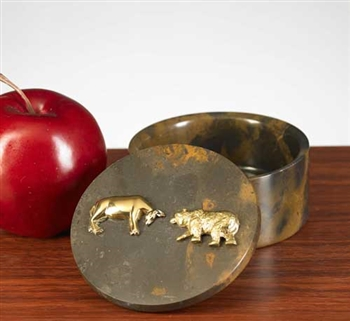 Stock Market Bull and Bear Round Marble Box