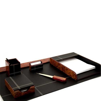 6 Piece Burl Wood Finish & Black Leather Desk Set