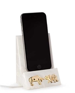 Bull and Bear Phone Cradle - White Marble