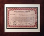 Framed Indian Motorcycle Company Stock Certificate
