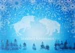 Bull and Bear Snow Season's Greetings Card