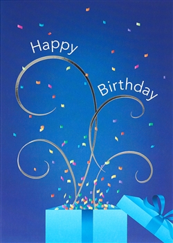 Confetti Streamer Burst Birthday Card