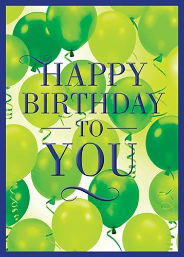Happy Birthday Green Balloons Greeting Card