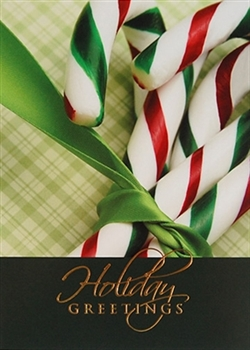 Green and Red Candy Canes Holiday Greeting Card