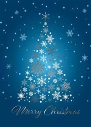 Blue Snow Flake Tree - Holiday Greeting Card
