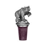 Grizzly Bear Pewter Wine Bottle Stopper - Handmade in the USA