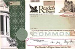 Reader's Digest Stock Certificate Mock-up