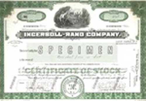 ingersoll rand company stock certificate mock up