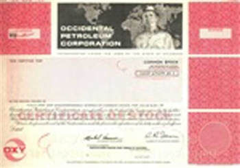 Occidental Petroleum Corporation Stock Certificate Mock-up