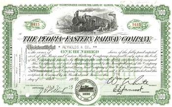 The Peoria and Eastern Railway Company Stock Certificate