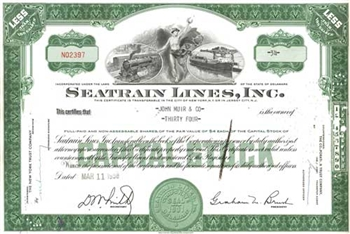 Seatrain Line, Inc. Stock Certificate