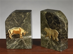 Green Marble Gold Plated Stock Market Bull and Bear Bookends